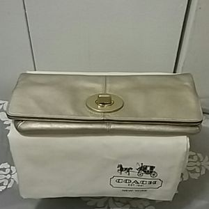 Coach Gold Leather Foldover Clutch
